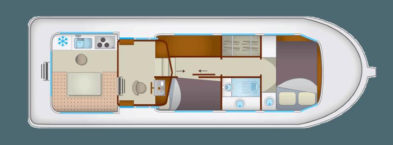Penichette 1106 FB - plan wnętrza