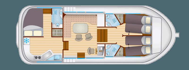 Penichette 1180FB - plan wnętrza