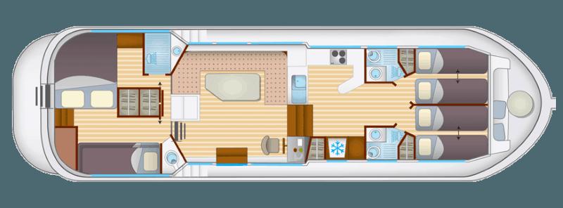 Penichette 1400 FB - plan wnętrza
