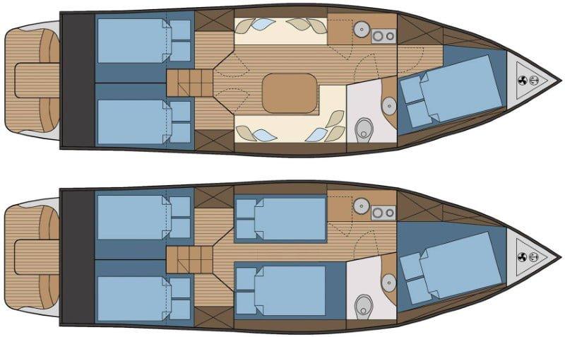 River Cruiser 30 - rozkład wnętrza