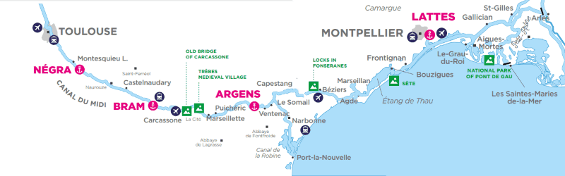 Canal du Midi i Camargue - mapa