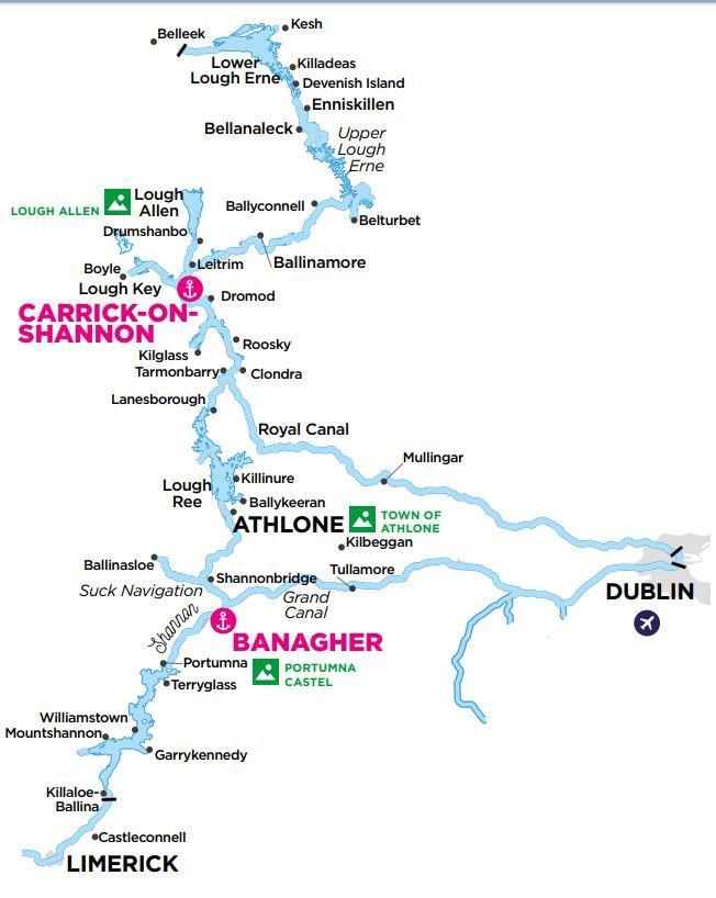 Irlandia - Shanonne Erne - mapa