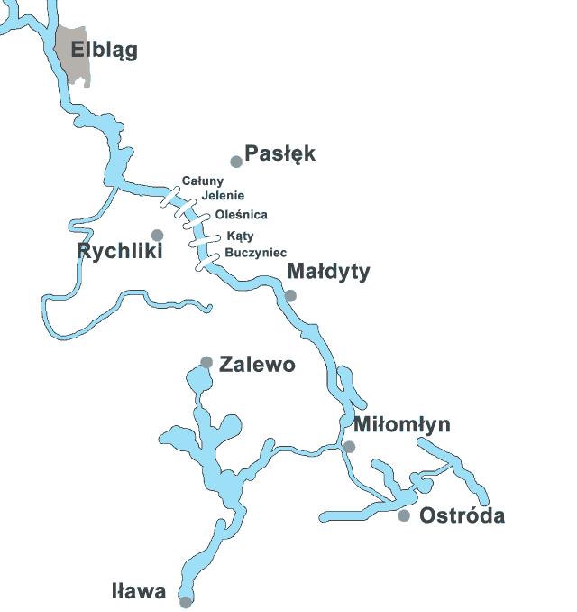 Kanał Elbląski - mapa