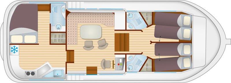 Wnętrze barki Penichette 1180 FB rysunek