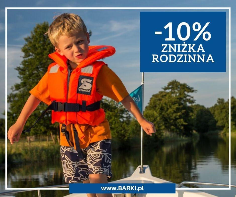 Zniżka rodzinna wakacje na barce -10%