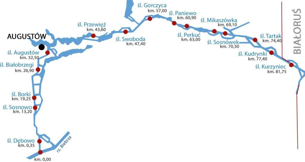 KIanał Augustowski - mapa