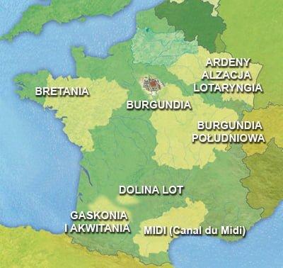 mapka Francji - gdzie można wynająć barkę turystyczną